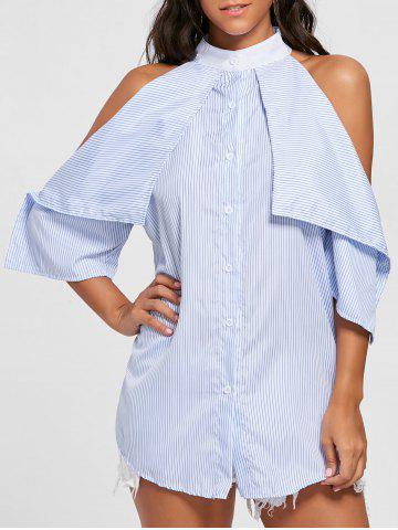 Stripe Cold Shoulder Mini Shirt Dress