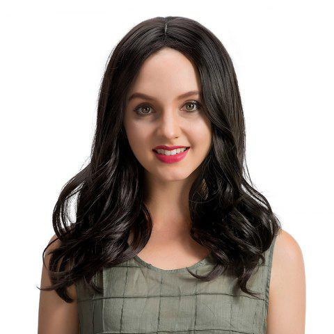 New Center Parting Medium Wavy Synthetic Wig BLACK 42CM
