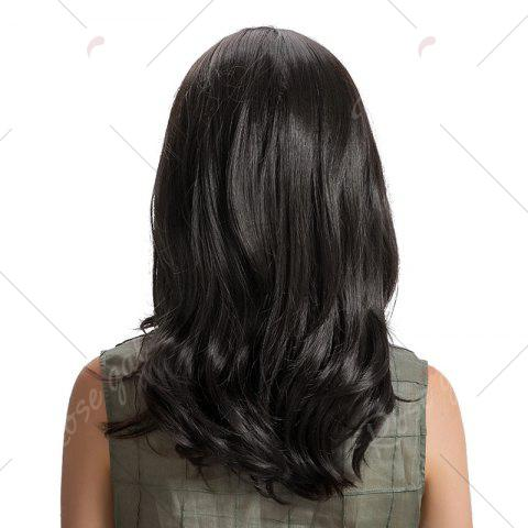 Hot Center Parting Medium Wavy Synthetic Wig - 42CM BLACK Mobile