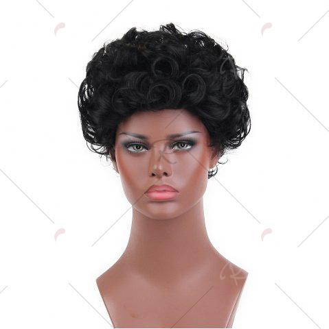 Outfits Short Layered Shaggy Curly Synthetic Wig - 26CM BLACK Mobile