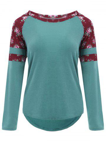 Best Raglan Sleeve High Low Floral T-shirt BLACKISH GREEN 2XL
