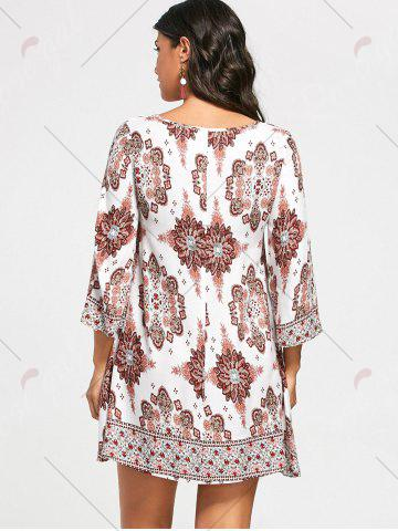 New Bohemia Print Keyhole Neck Tunic Dress - S COLORMIX Mobile