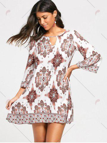 Online Bohemia Print Keyhole Neck Tunic Dress - S COLORMIX Mobile