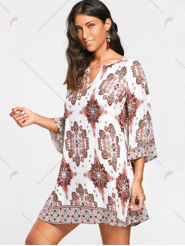 Affordable Bohemia Print Keyhole Neck Tunic Dress - S COLORMIX Mobile