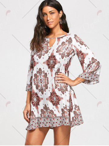 Sale Bohemia Print Keyhole Neck Tunic Dress - S COLORMIX Mobile