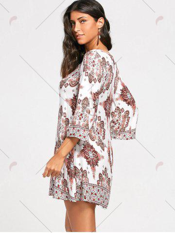 Discount Bohemia Print Keyhole Neck Tunic Dress - S COLORMIX Mobile