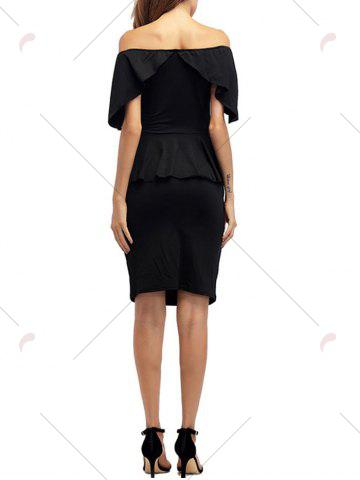 Affordable Ruffle Off The Shoulder Peplum Bodycon Dress - S BLACK Mobile