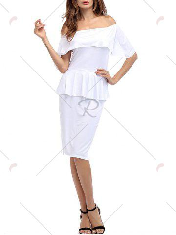 Best Ruffle Off The Shoulder Peplum Bodycon Dress - XL WHITE Mobile