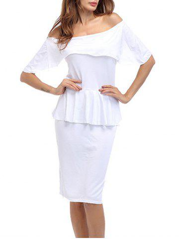 Discount Ruffle Off The Shoulder Peplum Bodycon Dress WHITE S