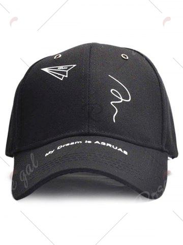 Sale Paper Plane Pattern Letters Embroidery Baseball Hat - BLACK  Mobile