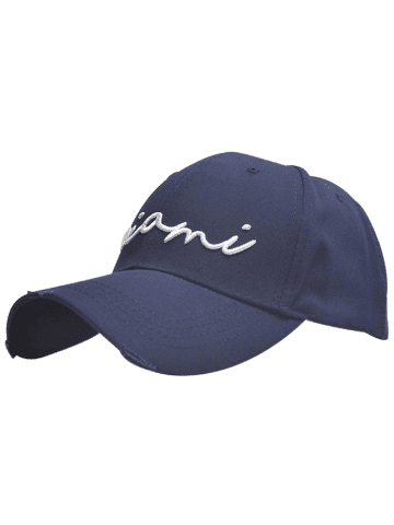 Broken Hole Letters Embroidered Baseball Cap - Blue - One Size