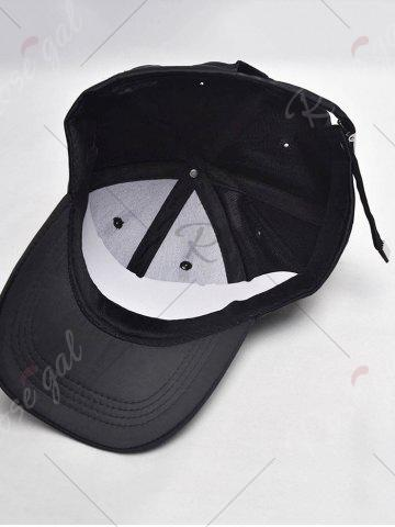 Shop Letters Embroidery Long Tail Embellished Baseball Cap - FULL BLACK  Mobile