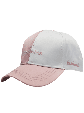 Shops Letters Embroidered Two Tone Baseball Cap - PINK STRIPE  Mobile