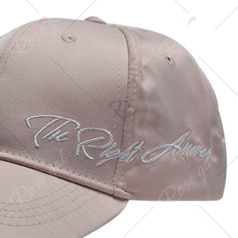 Shop Satin Spliced Letters Embroidered Baseball Cap - PINK  Mobile