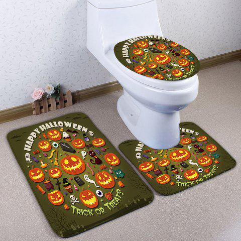 Chic 3Pcs/Set Pumpkin Halloween Flannel Bath Toilet Mat ARMY GREEN