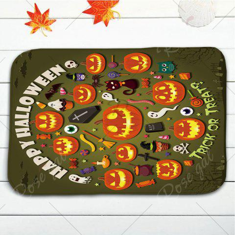 Affordable 3Pcs/Set Pumpkin Halloween Flannel Bath Toilet Mat - ARMY GREEN  Mobile