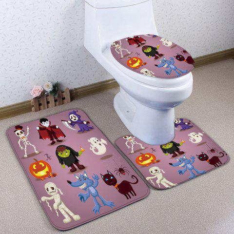 Affordable 3Pcs/Set Bathroom Decor Halloween Bath Toilet Rug - PINK  Mobile