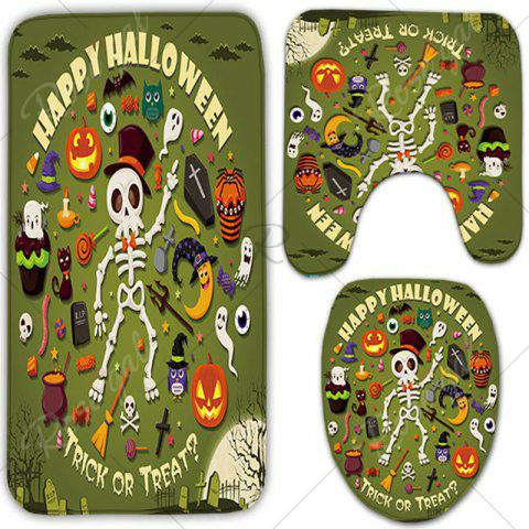 Latest 3Pcs/Set Halloween Skull Flannel Bath Toilet Mat - GREEN  Mobile