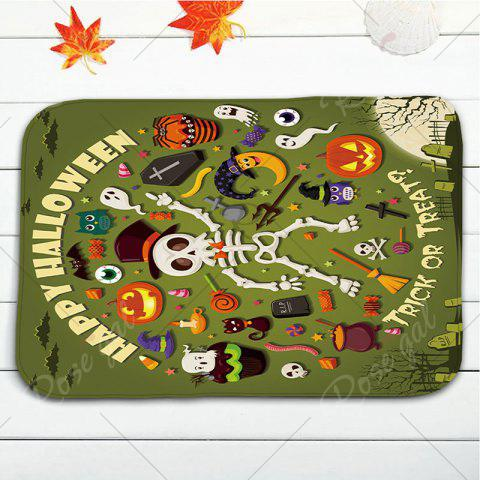 Shop 3Pcs/Set Halloween Skull Flannel Bath Toilet Mat - GREEN  Mobile