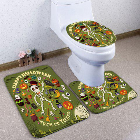 Online 3Pcs/Set Halloween Skull Flannel Bath Toilet Mat - GREEN  Mobile