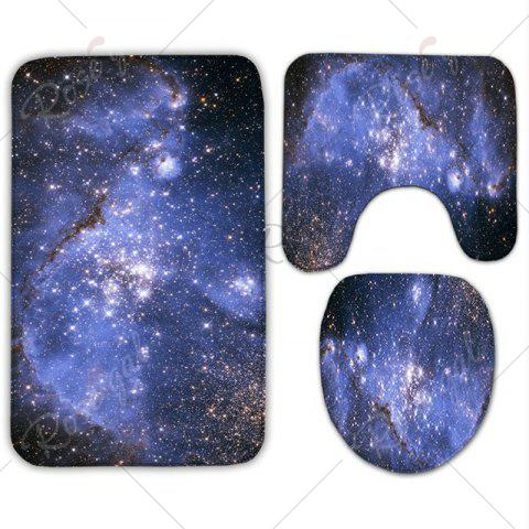 Outfit 3Pcs/Set Star Sky Flannel Bath Toilet Rug - STARRY SKY PATTERN  Mobile