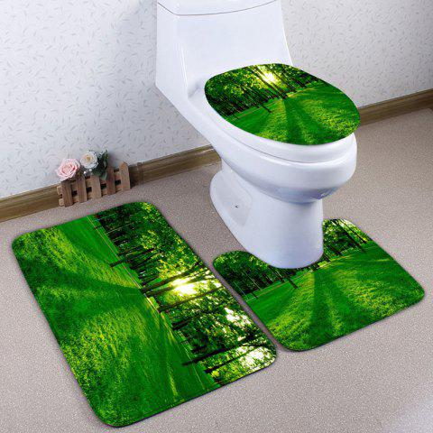 Fancy 3Pcs/Set Flannel Forest Printed Bath Toilet Rug - GREEN  Mobile