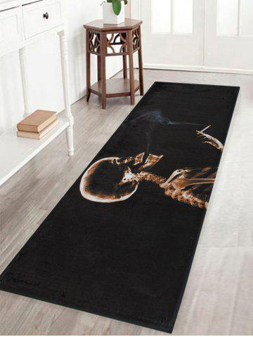 Halloween Skeleton Smoke Print Anti-skid Water Absorption Area Rug Noir Largeur 16 pouces*Longueur 47 pouces