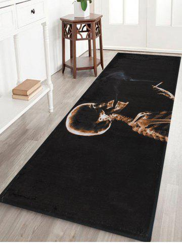 Online Halloween Skeleton Smoke Print Anti-skid Water Absorption Area Rug BLACK W24 INCH * L71 INCH