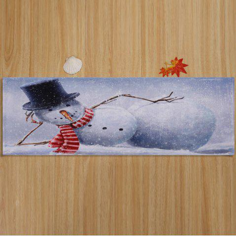 Fancy Lying Snowman Print Anti-skid Water Absorption Area Rug - W16 INCH * L47 INCH GREY WHITE Mobile