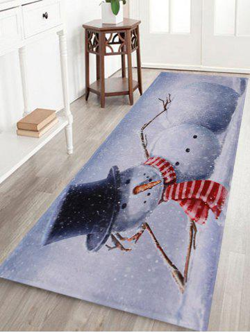 Cheap Lying Snowman Print Anti-skid Water Absorption Area Rug GREY WHITE W24 INCH * L71 INCH