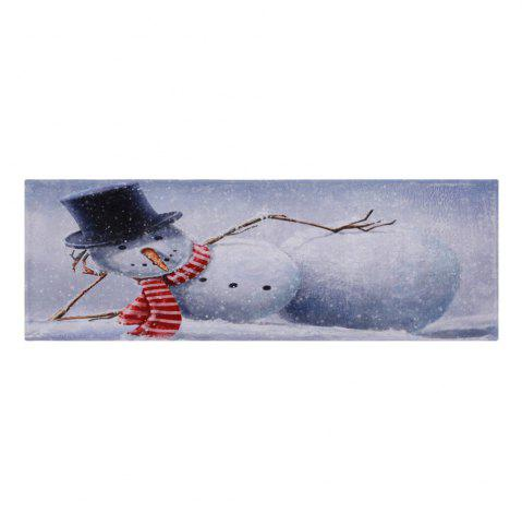 Chic Lying Snowman Print Anti-skid Water Absorption Area Rug - W24 INCH * L71 INCH GREY WHITE Mobile