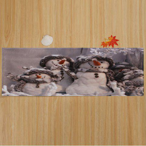 Buy Winter Snowmen Print Anti-skid Water Absorption Area Rug - W16 INCH * L47 INCH GRAY Mobile