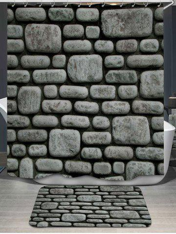 Stone Wall Print Shower Curtain and Rug - Gray - W71 Inch * L71 Inch
