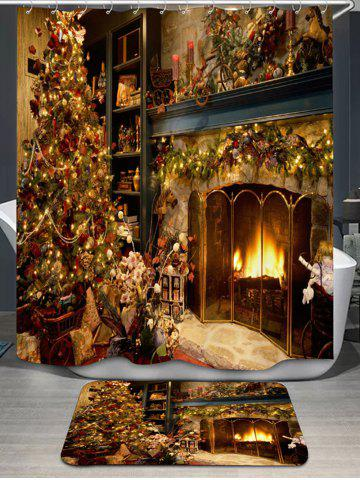 New Christmas Fireplace Bath Curtain and Rug