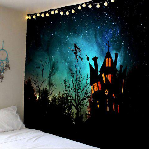 Waterproof Halloween Witch Printed Wall Hanging Tapestry - Black - W79 Inch * L59 Inch