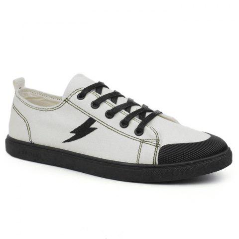 Fashion The Flash Lightning Canvas Sneakers - 43 WHITE Mobile