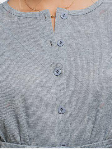 Affordable Button Down Knitted Romper - XL GRAY Mobile