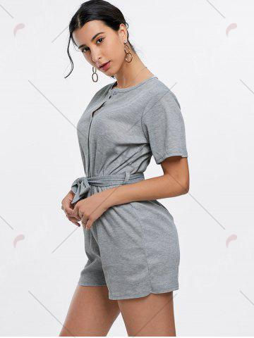 Chic Button Down Knitted Romper - XL GRAY Mobile