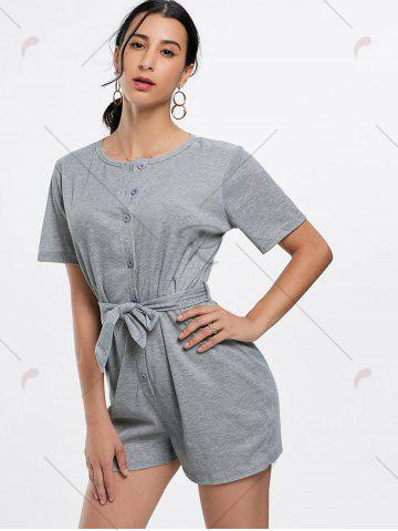 Chic Button Down Knitted Romper - L GRAY Mobile