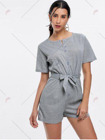 Chic Button Down Knitted Romper - M GRAY Mobile