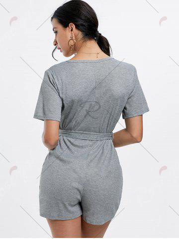 Unique Button Down Knitted Romper - M GRAY Mobile