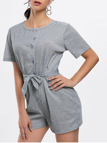 Chic Button Down Knitted Romper - S GRAY Mobile
