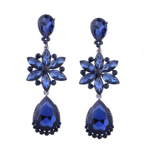 Faux Crystal Flower Teardrop Dangle Earrings - Blue