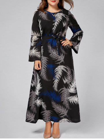 Leaves Print Plus Size Chiffon Long Sleeve Maxi Dress - Black - 6xl