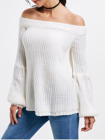 Bell Sleeve Off The Shoulder Sweater - White - One Size