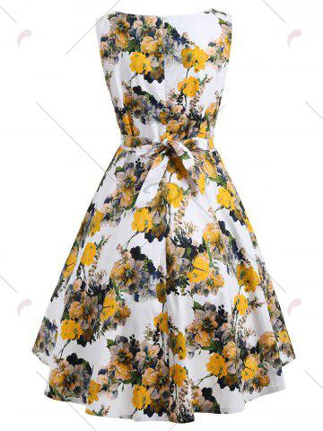Best Floral Bloom Sleeveless Retro Swing Dress - S YELLOW Mobile