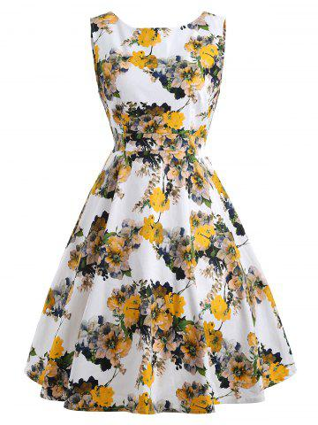 Unique Floral Bloom Sleeveless Retro Swing Dress - S YELLOW Mobile