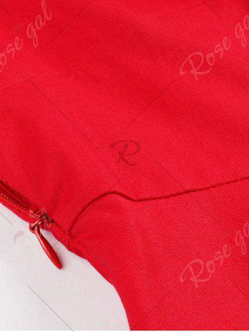 Outfits Ruched Mesh Insert Vintage Pinup Dress - S RED Mobile