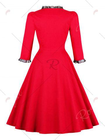 Unique Ruched Mesh Insert Vintage Pinup Dress - S RED Mobile