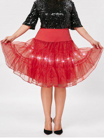 Unique Plus Size Cosplay Light Up Party Skirt - RED 2XL Mobile